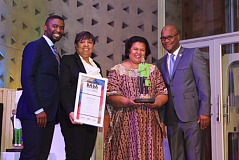 Kwanele Gumbi, Chairperson BASA, Stacey Davidson, Director REDISA, Elinor Sisulu, Chairperson Puku, Minister Nathi Mthethwa, Minister of Arts and Culture (picture by Gareth Jacobs photography)