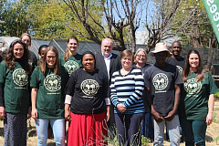 Jenny Mare, General Manager for Corporate Affairs and Leon Theron General Manager for Customer Service  Technical and Field operations join the Food and Trees for Africa team to mark the beginning of the partnership.