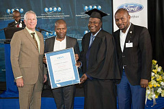 Jeff Nemeth, President and CEO of Ford Sub Saharan Africa region, Lebogang Maile, Gauteng's MEC for Economic, Environment, Agriculture and Rural Development, Incubatee Graduate Caiphus Mokotedi and Cllr Aaron Maluleka, Chairperson of Oversight Committee: Economic Development and City Planning, City of Tshwane.