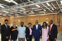 Left to Right - Mr Dineshan Moodley, Industry Executive -AIDC,  Mr Tony Gomes- Master Artisan -AIDC , Mr Alex Buthelezi- Master Artisan-AIDC, Ms Portia Mkhabela Department Manager Skills Development & Training-AIDC , Deputy Minister of Higher Education & Training, (DHET) Honourable Mduduzi Manana,  Ms Tsholofelo Mokotedi- Stakeholder Relations -EW Seta, Mr. Thamsanqa Maqubela, Executive Chairman-SACGC.