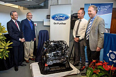 Two Duratorq TDCi engines were donated by Ford Motor Company today to the Ford Engine Research Unit, part of the Department of Mechanical Engineering at the Nelson Mandela Metropolitan University in Port Elizabeth. Pictured (from left to right): Dr Oswald Franks: Executive Dean - Faculty of Engineering, Built Environment and Information Technology, NMMU, Jim Vella: President, Ford Motor Company Fund, Ockert Berry: Vice President Operations, Ford Motor Company of Southern Africa and Prof Andrew Leitch: Deputy Vice-chancellor: Research and Engagement, NMMU