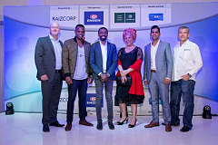 In the group photograph from left to right: Alan Shannon (Nedbank), Billy Siziba (3rd place, from Port Elizabeth), Murendeni Mafumo (Winner, from Johannesburg), Shirley Moroka-Mosia (Engen), Rishav Juglall (2nd place, from Durban), Allon Raiz (Raizcorp)
