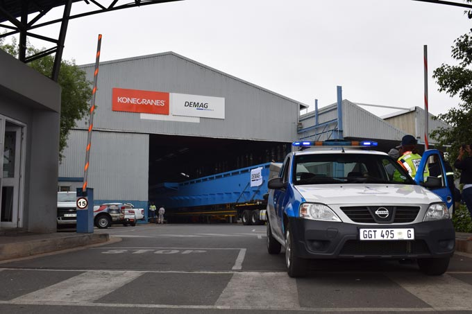 A 52mtr long, 65ton Demag 'desludging bridge' leaves the Boksburg factory earlier this month.