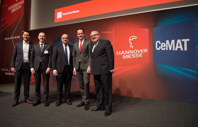 (left to right) Lukas Zanger, COO and Co-Founder, Magazino GmbH; Dr. Klaus-Dieter Rosenbach, Chairman of the VDMA Materials Handling and Intralogistics Association and member of the managing board at Jungheinrich AG; Dr. Robert Bauer, CEO, SICK AG; Dr. Jochen Köckler, CEO, Deutsche Messe AG and S. E. Rogelio Granguillhome, Ambassador of the United Mexican States.