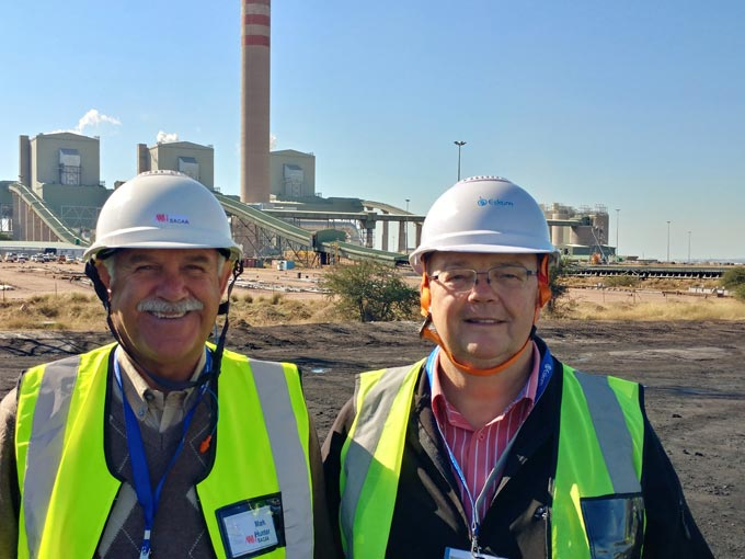 SACAA general manager, Mark Hunter with Aspasa director, Nico Pienaar. SACAA has joined forces with Aspasa to better regulate and communicate the use of coal ash products in the economy