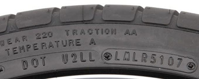 The age of a tyre can be determined by looking at the side wall of the tyre for the following markings: