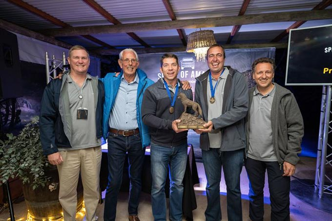 Mark Handley, Head of Volkswagen Commercial Vehicles, Rally and track legend, Sarel van der Merwe, JD Kruger & LD Erasmus (Team South Africa) and Dr Stefan Pfeiffer, Global Head of Marketing Communications for Volkswagen Commercial Vehicles