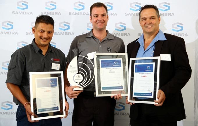 Winners – Equipment suppliers 2017/18 SAMBRA awards – left to right :  Vinay Ramjattan from Bosch; Marco Willemse from  Gondolier and  Deon de Kock from Bosch