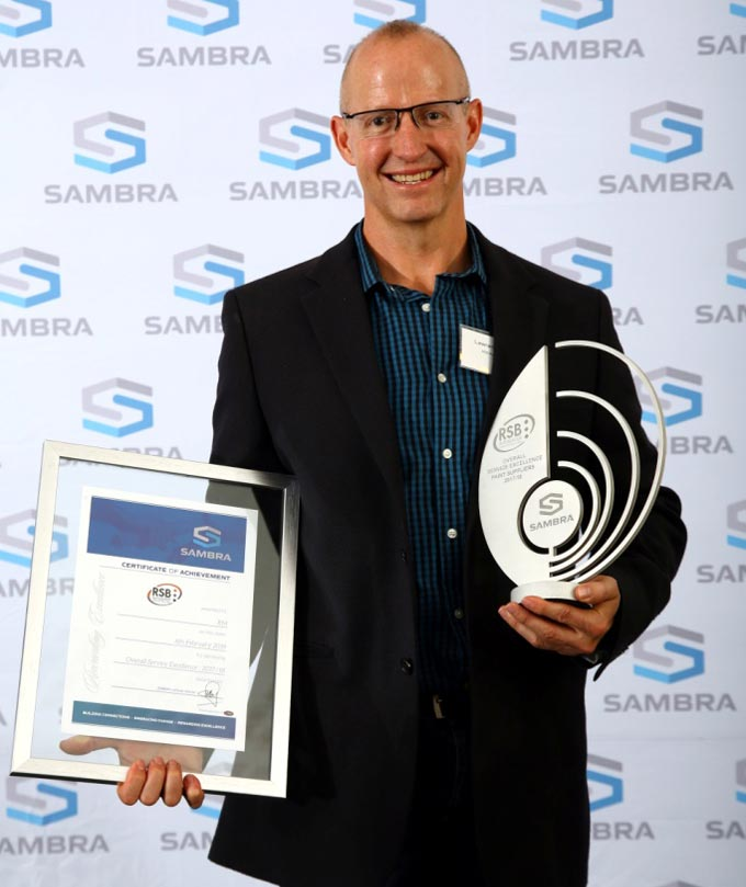 Winner – Paint Suppliers 2017/18 SAMBRA awards – Lawrence Glen from R-M / RSB