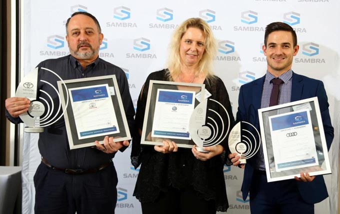 Winners – OEM category 2017/18 SAMBRA awards – left to right: Charles Claasen from Toyota SA; Annelise van Staden and Byron Rudman from Volkswagen.