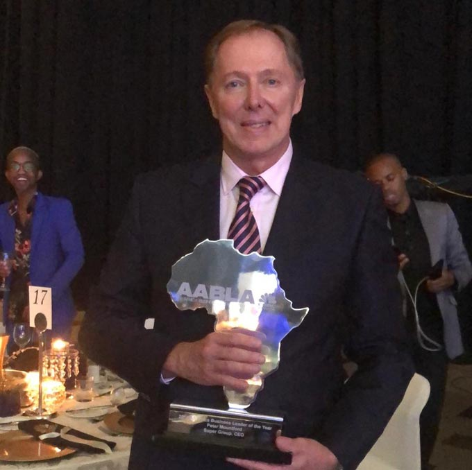 Peter Mountford, who was recently named the 2018 All Africa Business Leader of the Year at the All Africa Business Leaders Awards (AABLA™) Grand Finale.
