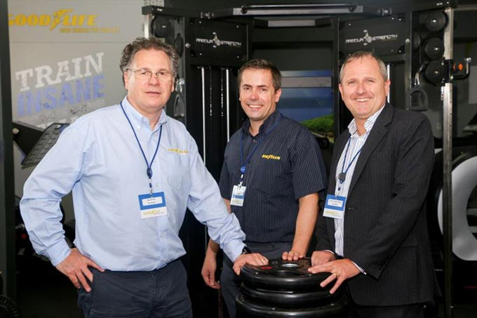Goodyear Gym 1: (from left) Ray Norris, Goodyear EMEA Commercia Manufacturing Director; Ian Hind, Goodyear South Africa Manufacturing Director and Darren Hayes-Powell, Goodyear South Africa and Sub-Saharan Africa Managing Director in the new Goodyear Gym.