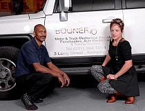 Andrea Bogner, owner of Bogner Motor City Truck and Car Workshop (right), with Daved Valentine, the workshop manager.
