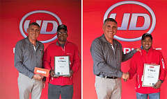 UD Trucks Southern Africa is proud to announce the winners of its Extra Mile Challenge driver competition. Gert Swanepoel, managing director of UD Trucks Southern Africa with Tatiya Sisilia (left) from Clover SA in Johannesburg won the Quon category, while Chuttur Sunilduth (right) from Serveng Ltd Mauritius walked away with top honours in the Quester category.