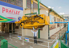 Mr Pratley himself, CEO Kim Pratley, underneath the 13 t bulldozer suspended using Wondafix.