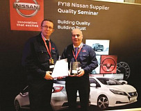 John Rafferty, Hub III Section Leader, and Ian Jackson, Quality Assurance Manager, received the Nissan quality award on behalf of NSK's Peterlee plant