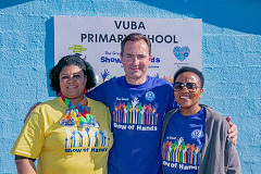 L-R - Shumikazi Sibhozo, Principal of Vuba Primary School; Thomas Schaefer, Chairman and MD of Volkswagen Group SA; Nonkqubela Maliza, Director Corporate and Government Affairs