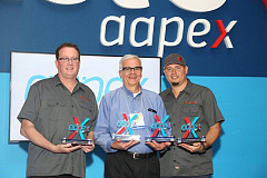 Left to right, representing the Best of Show winners in the AAPEX 2018 Best Booth Awards are Doug Spitler, president, Ullman Devices; Flloyd Sobczak, marketing manager, Gates Corporation; and Mike Barthel, marketing manager, Ullman Devices