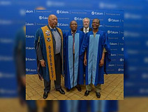 From left to right:  Eskom Development Foundation Chairman, Mr Chose Choeu, Eskom Development Foundation CEO, Mr Cecil Ramonotsi, Professor Nel, Professor Mokgalong and Eskom Contractor Academy graduates who received their certificates at the graduation ceremony held at the Eskom Academy of Learning in Midrand this week.