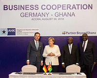 Thomas Schaefer, Head of Sub-Saharan Region & Managing Director: Volkswagen Group South Africa, Angela Merkel, Chancellor of Germany, Vice-President of the Republic of Ghana, Mahamudu Bawumia and Minister of Trade and Industry, Alan Kyerenmaten.