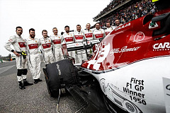 Alfa Romeo at GP number 1000 with a livery that celebrates Nino Farina's win at the first Formula One race - Silverstone 1950 - on Alfa Romeo 158