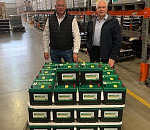 Corné Strydom (left), AutoX Sales and Marketing Executive, and the company CEO, Glenn Geldenhuis, seen in the AutoX warehouse in Elandsfontein with a consignment of their popular Willard brand batteries.