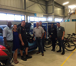 (from left) Joshua Omolo, Project Engineer uYilo, Bridget and Jack Finn from Finn Auto, Pieter Niemand, Director of MIWA, Peter van Mosseveld, MIWA representative, Edem Foli, Programme Manager uYilo, and Dr Nico Rust, Group Specialist: Energy Storage uYilo, during the visit to the uYilo eMobility Programme facility in Nelson Mandela University, PE.