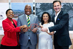 Nonkqubela Maliza, Director: Corporate and Government Affairs at Volkswagen Group South Africa, Oscar Mabuyane, MEC for Finance, Economic Development, Environmental Affairs and Affairs in Eastern Cape, Sally Marengo, owner of KPL Die Casting and Thomas Schaefer, Chairman and Managing Director of Volkswagen Group South Africa.