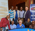 Project team members Isaac Boshomane, Chuene Tolo, Louis van Huyssteen and Freddie Franken joined interested participants for group photos to mark the Randburg learner on-boarding session.
