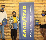 Zoliswa Njiyela (centre), Stephen Nkomo Primary School Principal, pictured standing with Goodyear South Africa Manufacturing leadership, Marcelo Moreira (left) and Cikizwa Vezile (right) at the Manufacturing facility in Uitenhage