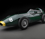 The lights go green on six 1958 Vanwall Formula One continuation cars