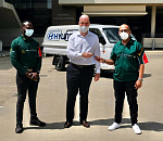 Niall Lynch (middle), CEO of Hyundai Automotive South Africa, hands the keys of the Hyundai H-100 in the background to Fahim Bayat (right) from Gift of the Givers' office in Gauteng. On the right is Israel Nulaudzi, also from Gift of the Givers. This is the fourth vehicle that Hyundai Automotive SA donated during the past year to Gift of the Givers as part of Hyundai's corporate social investment programme.