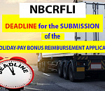 NBCRFLI: Deadline for the submission of the holiday-pay bonus reimbursement application
